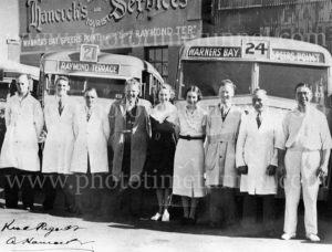 Hancock's buses staff and vehicles at the company base in King Street, Newcastle, NSW, circa 1950 (3)