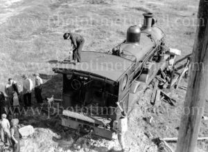 Steam locomotive 3321 derailed at Woodville Junction, Newcastle, NSW, May 11, 1936. (1)