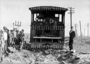 Steam locomotive 3321 derailed at Woodville Junction, Newcastle, NSW, May 11, 1936. (2)