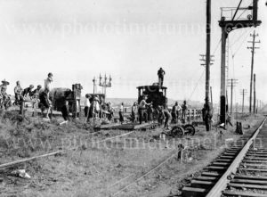 Steam locomotive 3321 derailed at Woodville Junction, Newcastle, NSW, May 11, 1936. (6)