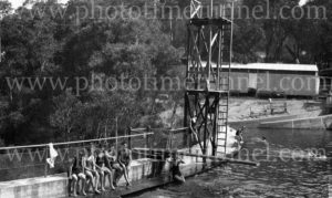 Bathers at The Cascades swimming baths, Leura, Blue Mountains, NSW, circa 1930s. (1)