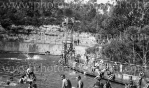 Bathers at The Cascades swimming baths, Leura, Blue Mountains, NSW, circa 1930s. (6)