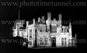 Government House Sydney illuminated for the visit of Edward, Prince of Wales, 1920.