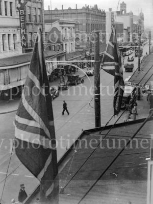 Flags out in Hunter Street, Newcastle, NSW, for the victory at Benghazi, February 10, 1941.