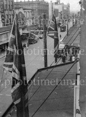 Flags out in Hunter Street, Newcastle, NSW, for the victory at Benghazi, February 10, 1941. (2)