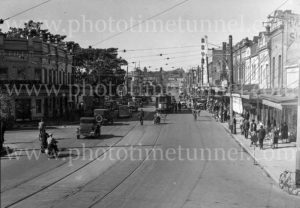 Traffic at Hunter Street West, Newcastle, near Bank Corner, June 3, 1939.