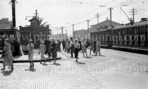Shoppers alighting from tram, Scott Street, Newcastle, NSW, circa 1940s.