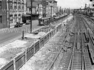 Footpath and railway fence construction, Scott Street, Newcastle, NSW, circa 1930s.
