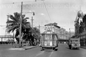 Tram and truck, Hunter and Scott Streets, Newcastle, NSW, circa 1940s.