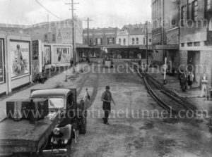 Tram track removal, Bellevue Street, (Hannell Street), Newcastle, circa 1940s.
