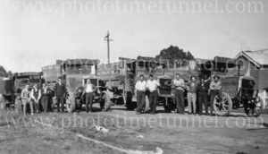 Arthur Ormsby's motor lorries and drivers in the Cessnock area, NSW, circa 1930s