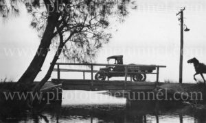 Horse and motor lorry on bridge in the Newcastle area, circa 1930s.