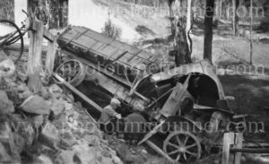 Men at the scene of a motor lorry accident, Cessnock area NSW, circa 1930s.