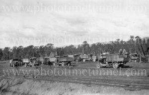 Arthur Ormsby's motor lorries in the Cessnock area, NSW, circa 1930s.