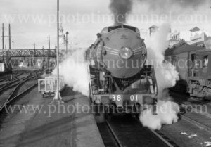 Steam locomotive 3801 at Newcastle Railway Station, June 28, 1964.