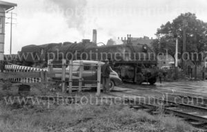 Garrett steam locomotive at Clyde Street level crossing, Newcastle, NSW, June 28, 1963.