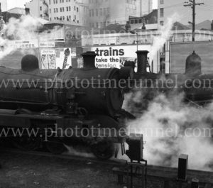 Steam locomotives at Newcastle Railway Station, July 17, 1968.