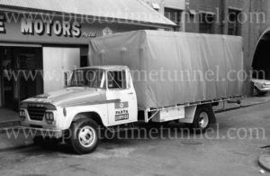 Dodge truck, Delore Motors Chrysler, Keightley Street Newcastle NSW, 1960s.