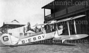 Aviator Bert Hinkler's Avro biplane at Cessnock Racecourse, NSW, June 1928.