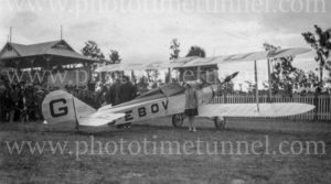 Aviator Bert Hinkler's Avro biplane at Cessnock Racecourse, NSW, June 1928. (2)