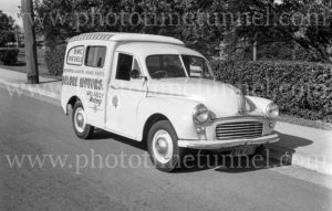 Morris van, Delore Motors, Newcastle NSW, circa 1960.
