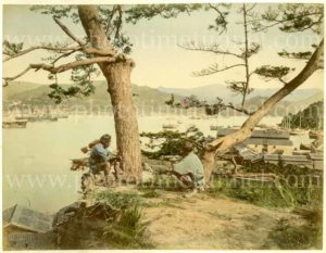 View of Nagasaki, Japan. Hand-coloured print by Kimbei Kusakabe, circa 1900.