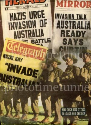 """Nazi invasion"": Australian World War 2 propaganda poster from Man magazine"