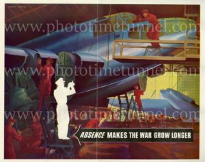 """Absence makes the war grow longer"": Australian World War 2 propaganda poster from Man magazine"