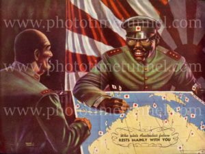 """Who plots Australia's future"": Australian World War 2 propaganda poster from Man magazine"