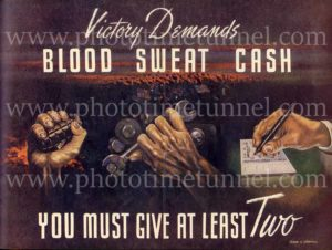 """Blood, sweat, cash"": Australian World War 2 propaganda poster from Man magazine"