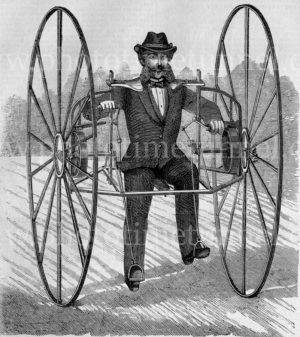 Man riding an unusual velocipede, 1869. Vintage engraving.