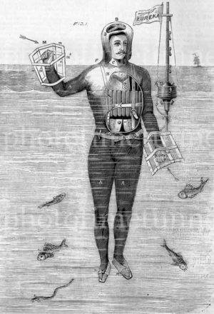 Captain Stoner's life-saving apparatus, 1869. Vintage engraving.