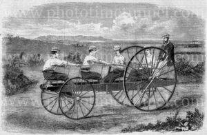 Celeremane, multi-rider velocipede, 1869. Vintage engraving.