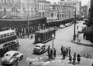 Hunter and Bolton Streets Newcastle, NSW, circa 1950.