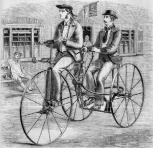 Needham safety tricycle, 1869. Vintage engraving.