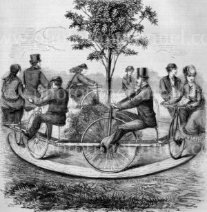 Men and women riding the New World pleasure velocipede, 1869. Vintage engraving.
