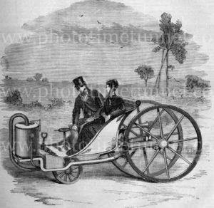 Couple on a steam velocipede,1869. Vintage engraving.