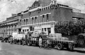 Trucks at Blakiston & Co transport, Geelong, Victoria, circa 1950. (2)