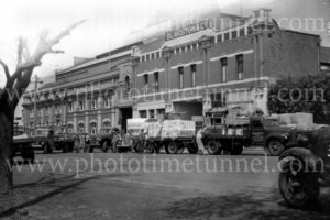 Trucks at Blakiston & Co transport, Geelong, Victoria, circa 1950.