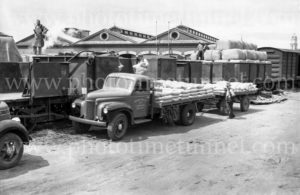 Blakiston truck and trailer at railways goods yard, Geelong, Victoria, circa 1950.