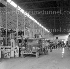 Blakiston transport truck in a warehouse, Geelong, Victoria, circa 1950.