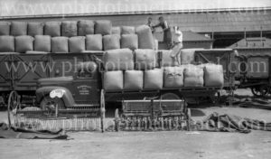 Blakiston truck with wool bales at railways goods yard, Geelong, Victoria, circa 1950. (2)