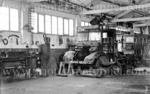 Blakiston Transport truck in mechanical workshop, Geelong, Victoria, circa 1950.