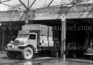 US Motors breakdown towtruck in Melbourne, Victoria, circa 1950.