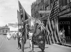 Soldiers in patriotic youth march in Hunter Street, Newcastle, NSW, December 13, 1942.