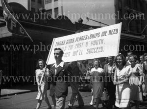 Young people in patriotic youth march in Hunter Street, Newcastle, NSW, December 13, 1942.