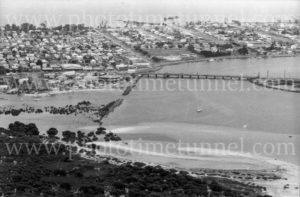 Aerial view of Swansea, Lake Macquarie, NSW, January 1, 1976.