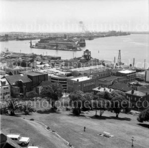 View from Christ Church Cathedral across Newcastle Harbour to State Dockyard, September 29, 1976.