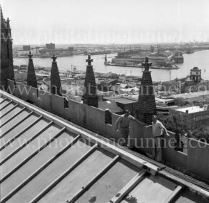 View from the roof of Christ Church Cathedral across Newcastle Harbour to State Dockyard, September 29, 1976.