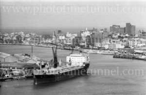 Bulk carrier Flinders Range in Newcastle Harbour, NSW, near the State Dockyard, November 8, 1977.